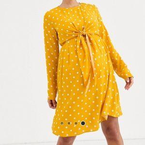NWT ASOS maternity nursing polka dot yellow dress